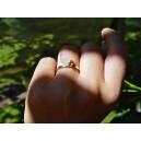 Bague anneau or jaune - Quartz rose pendant « Rosée du Matin »