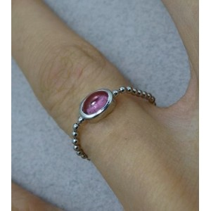 Bague chaine boule or gris centre tourmaline rose ovale « Sucre d'Orge »