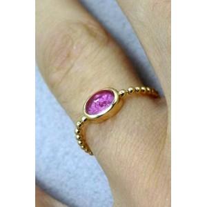 Bague chaine boule or jaune centre tourmaline rose ovale « Sucre d'Orge »