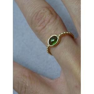 Bague chaine boule or jaune centre tourmaline verte ovale « Sucre d'Orge »