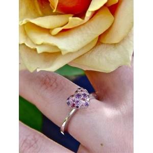 Bague coeur en or gris saphirs rose et violet « LoveToLove »