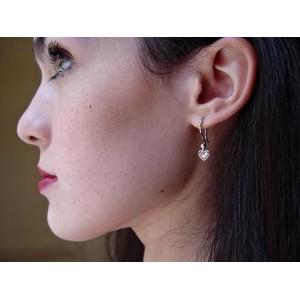 Boucles d'Oreilles pendantes coeurs pavage saphirs « Lovelies » Réversibles