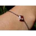 Bracelet chaine forcat or gris Topaze « Eglantine »