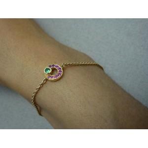 Bracelet chaine forcat or jaune saphirs rose tsavorite « Lutties »