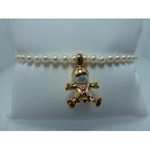Bracelet de perles charm's fille en or jaune