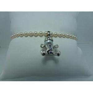 Bracelet de perles charm's garçon or gris