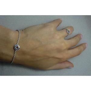 Bracelet or gris Saphirs Bleu - Citrine Jaune « Lutties »