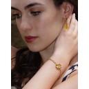 Bracelet trèfle or jaune « Bonheur » laque jaune