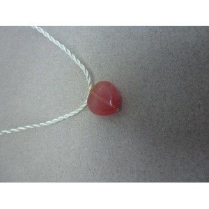 Collier pendentif coeur cordon de soie blanc « Ti'coeur Mathilde »