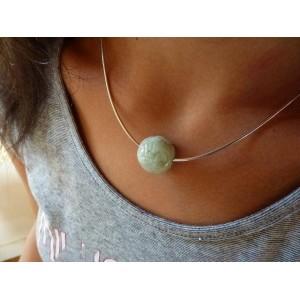 Ras de cou collier argent Omega « Jadeline » Jade de Birmani